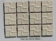 Blanc filet de pêche 2 par 2cm mosaïque grès antique paray par 100g